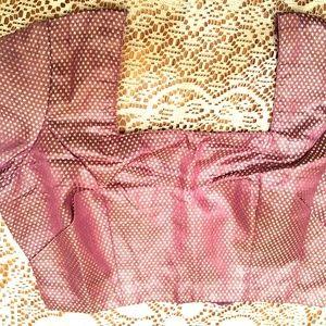 Purple Silver choli saree blouse